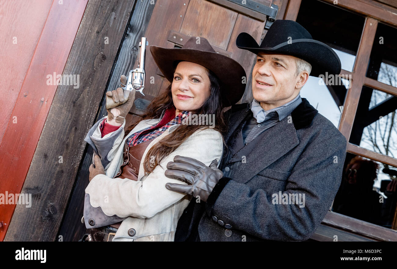 02 March 2018, Germany, Bad Segeberg: The actress Christine Neubauer and the actor Karsten Speck present their roles - Stock Image