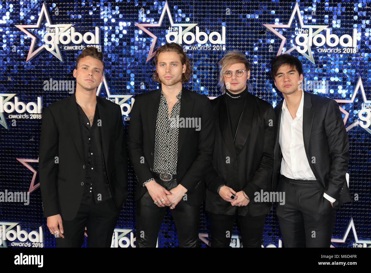 5 Seconds Of Summer Arrives At The Global Awards Eventim Apollo London Uk March 1st 2018 Credit Martin Evans Alamy Live News