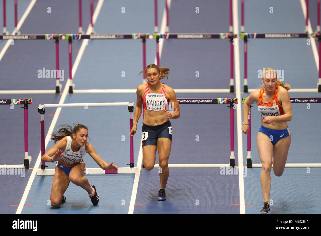 Birmingham, UK. 2nd March, 2018. Elena PESRIDOU (Greece) hits her hurdle and falls hard during the IAAF World Indoor - Stock Image