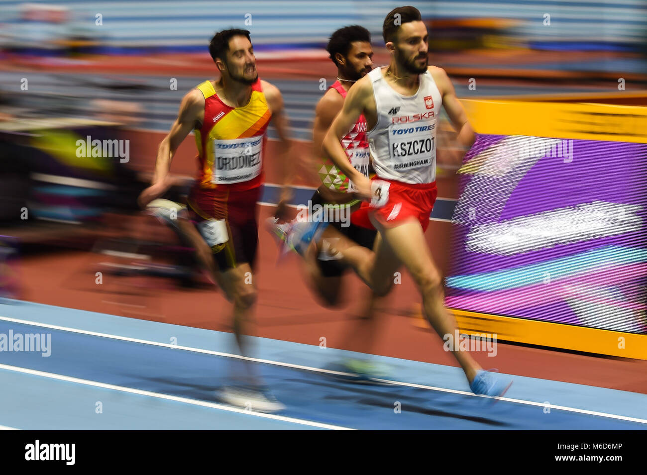 March 2, 2018: Adam Kszczot of Poland at 800 meter semi final at World indoor Athletics Championship 2018, - Stock Image