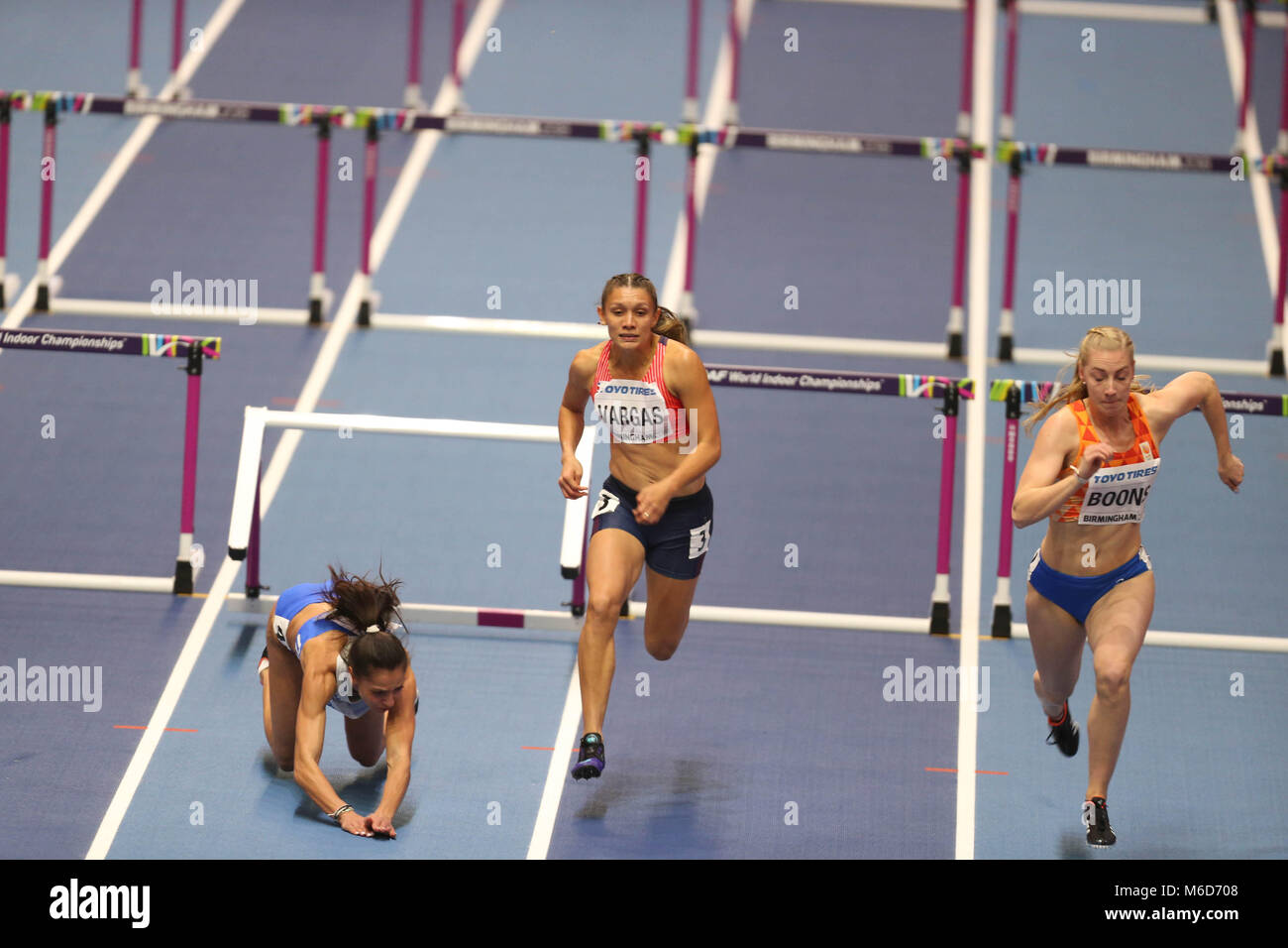 Birmingham, UK. 2nd Mar, 2018. Elisavet Pesiridou (Greece) hits her hurdle and falls hard during the IAAF World - Stock Image