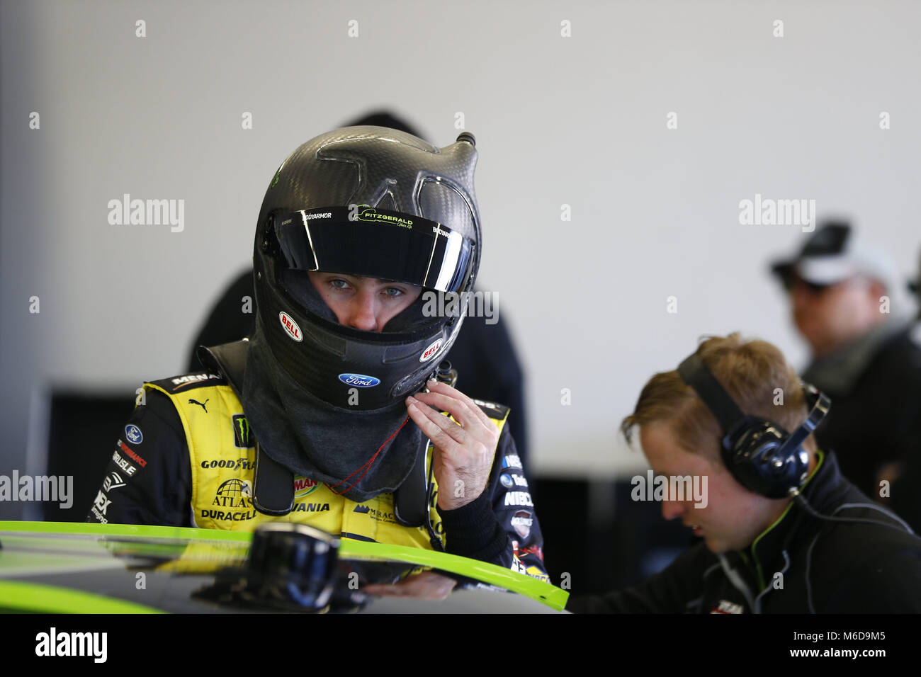 Las Vegas, Nevada, USA. 2nd Mar, 2018. March 02, 2018 - Las Vegas, Nevada, USA: Ryan Blaney (22) hangs out in the - Stock Image