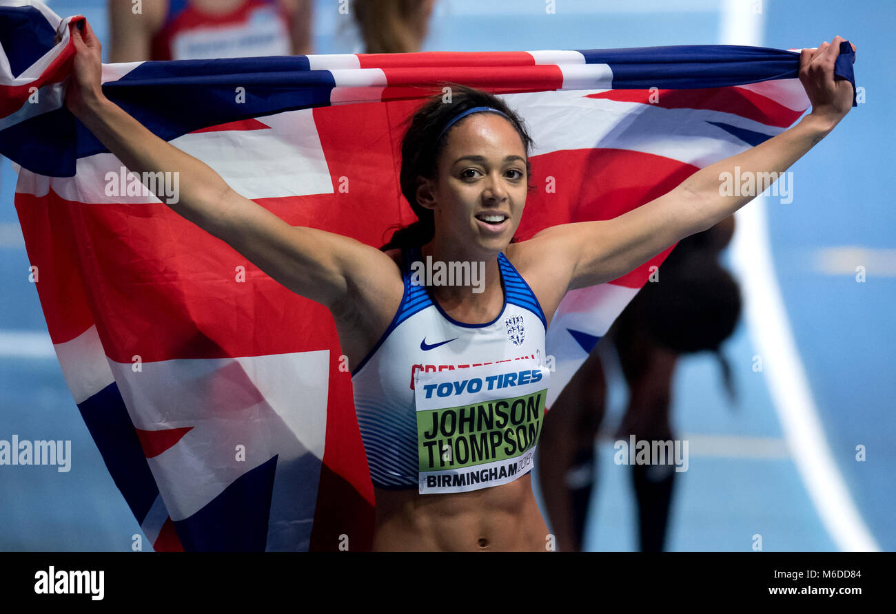 02 March 2018, Great Britain, Birmingham: IAAF World Indoor Championships in Athletics, women's pentathlon: - Stock Image
