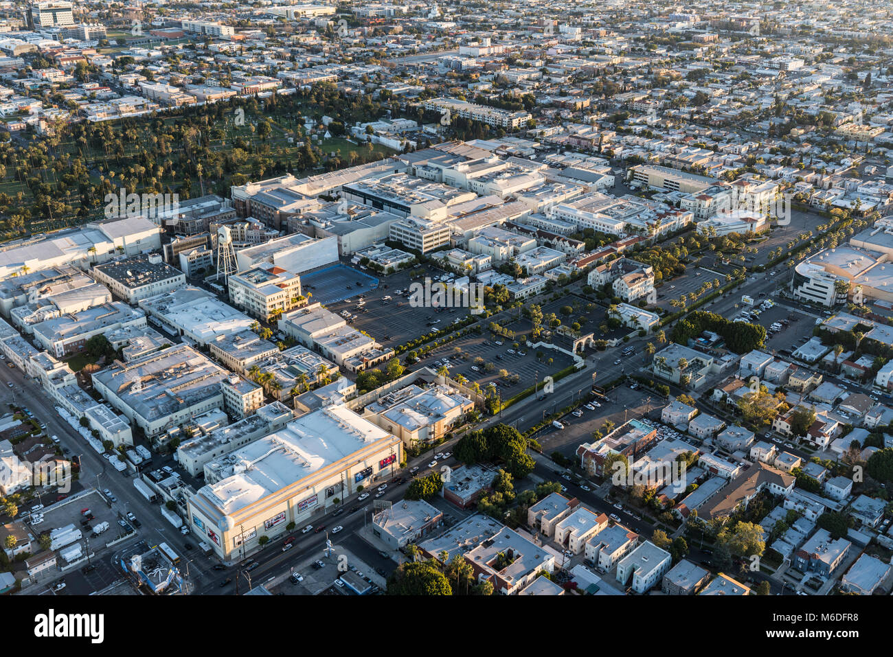 Los Angeles, California, USA - February 20, 2018:  Aerial view of Paramount Pictures Studio on Melrose Av in Hollywood. - Stock Image