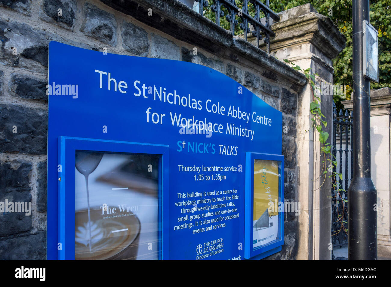 St Nicholas Cole Abbey Centre for Workplace Ministry sign, City of London, UK - Stock Image