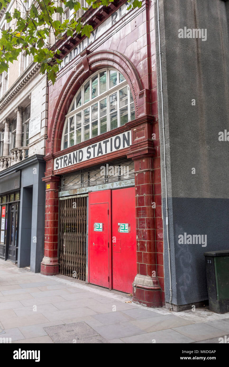 Strand Station / Aldwych Tube Station. Closed and disused London Underground station in London, UK - Stock Image