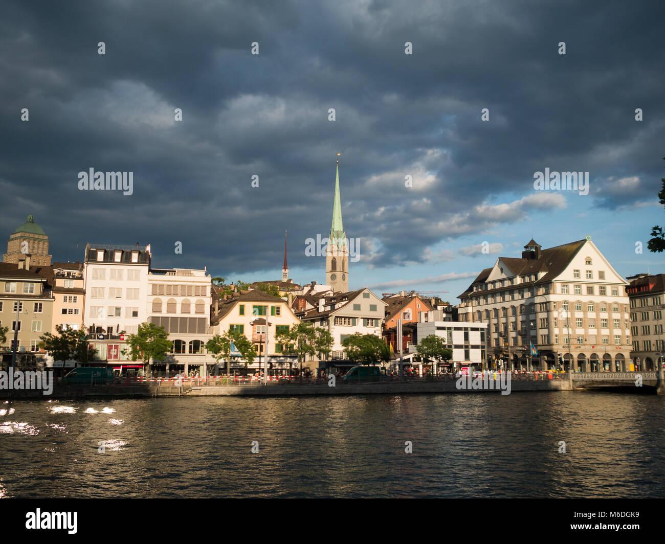 Dark clouds over Zurich skyline - Stock Image