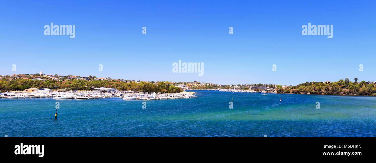Swan Yacht Club on the Swan River as viewed from Mosman Park. - Stock Image