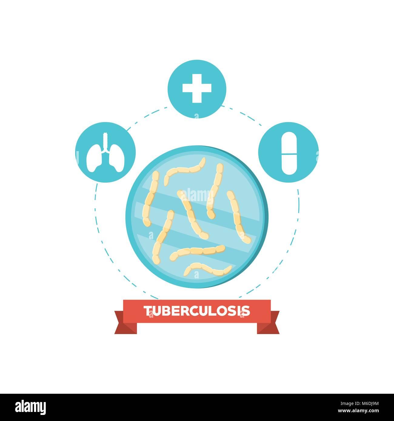 Tuberculosis bacteria and medication signs around over white background, colorful design vector illustration - Stock Image