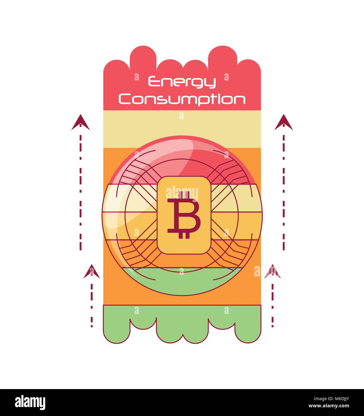 Energy Consumption design with bitcoin symbol and arrows over white background, colorful design vector illustration - Stock Image