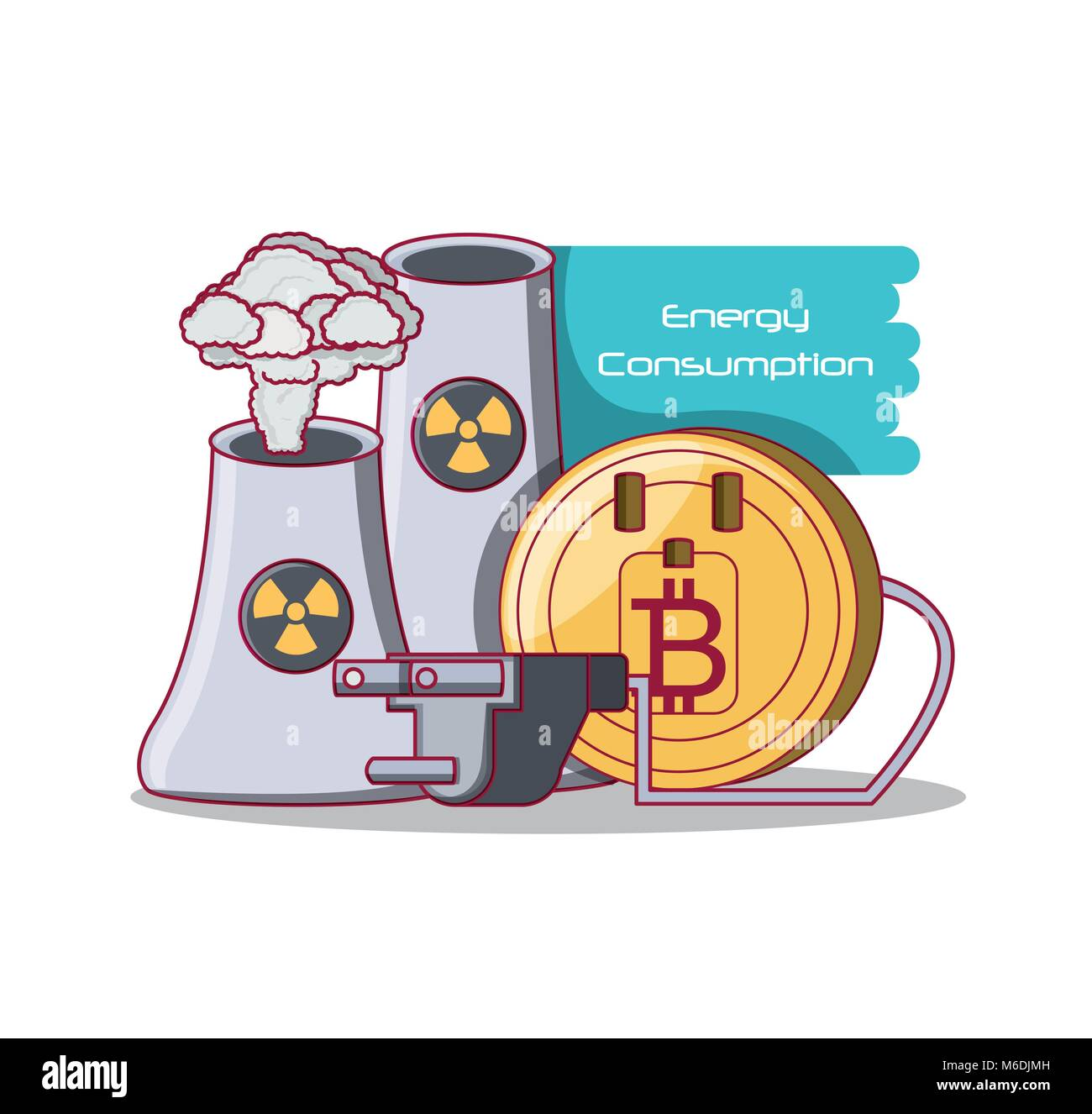 Bitcoin Energy Consumption design with over white background, colorful design vector illustration - Stock Image