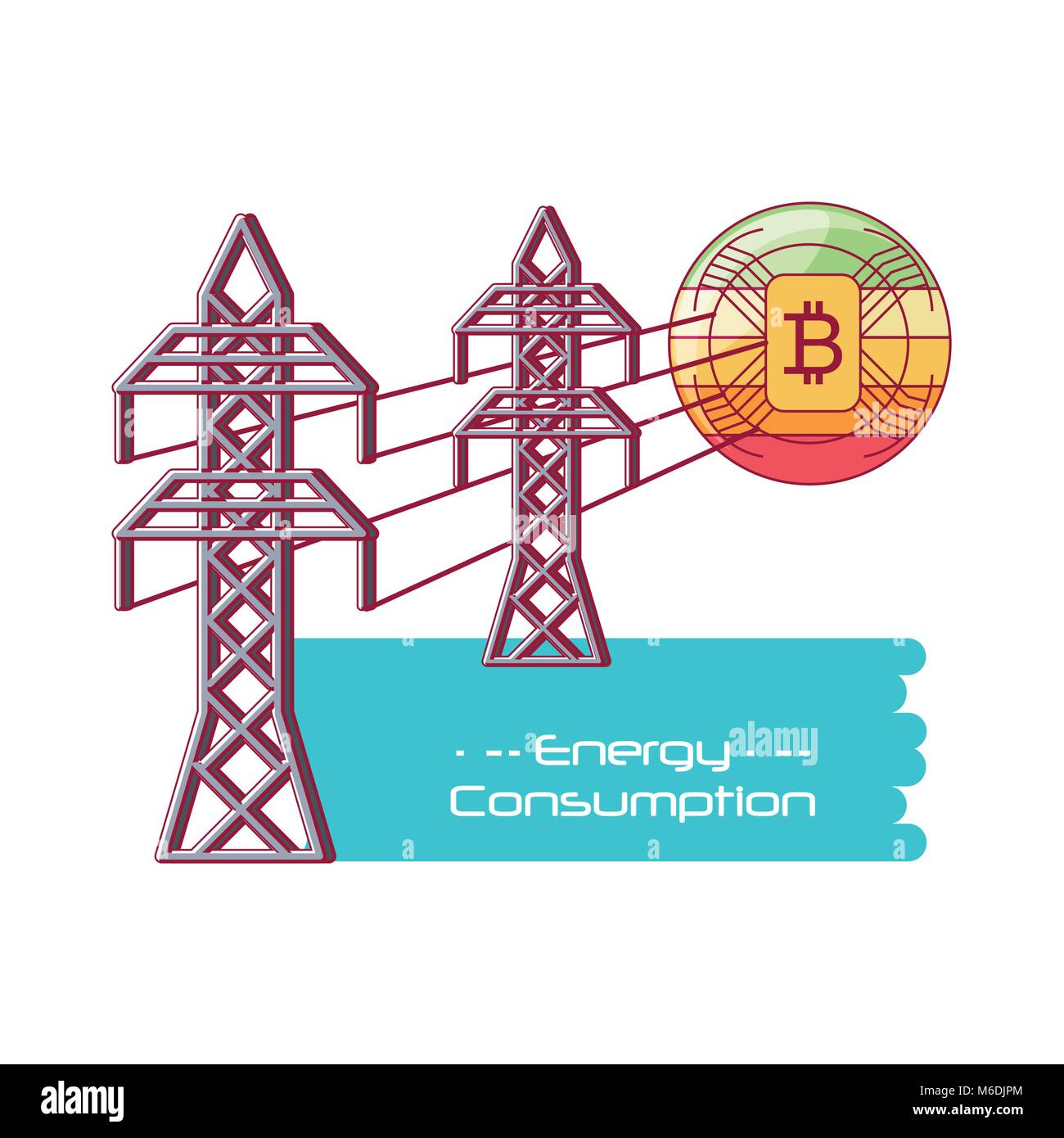 Energy Consumption design with energy towers and bitcoins over white background, colorful design vector illustration - Stock Image