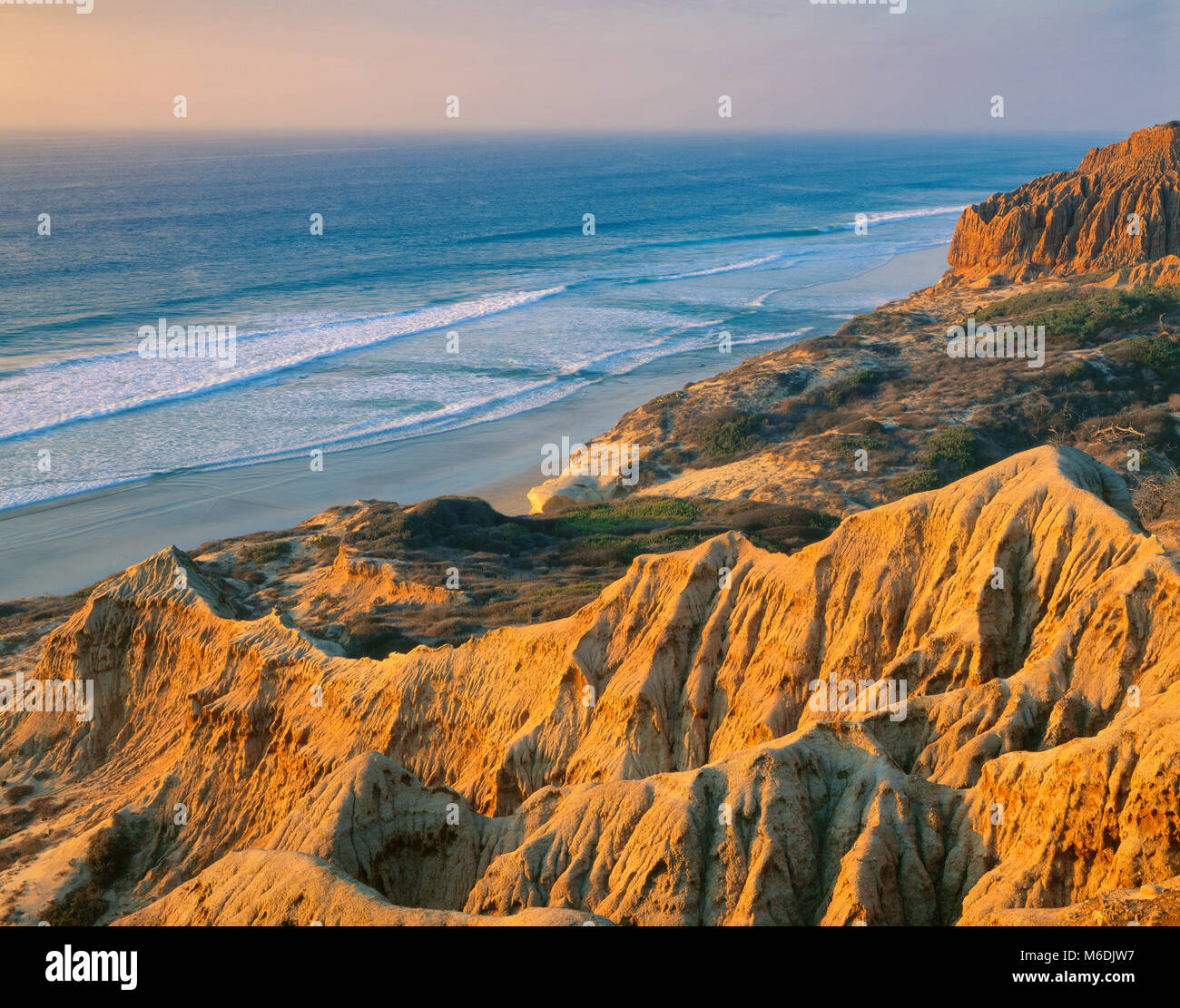 Sunset, Torrey Pines State Beach and State Reserve, La Jolla, San Diego County, California - Stock Image