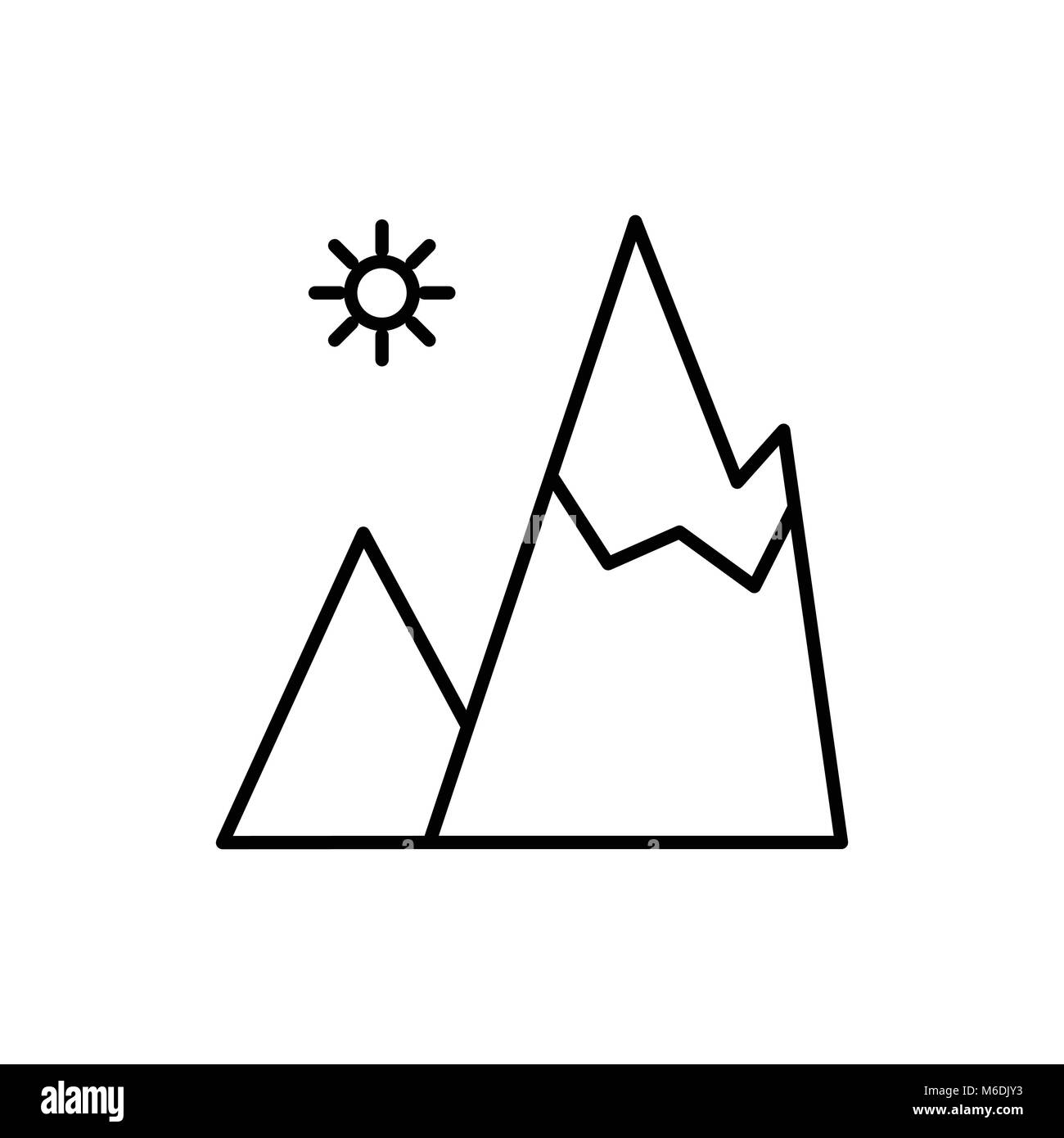 Daylight Mountain Adventure Thin Line Icon Symbol Vector Illustration Graphic Design - Stock Vector