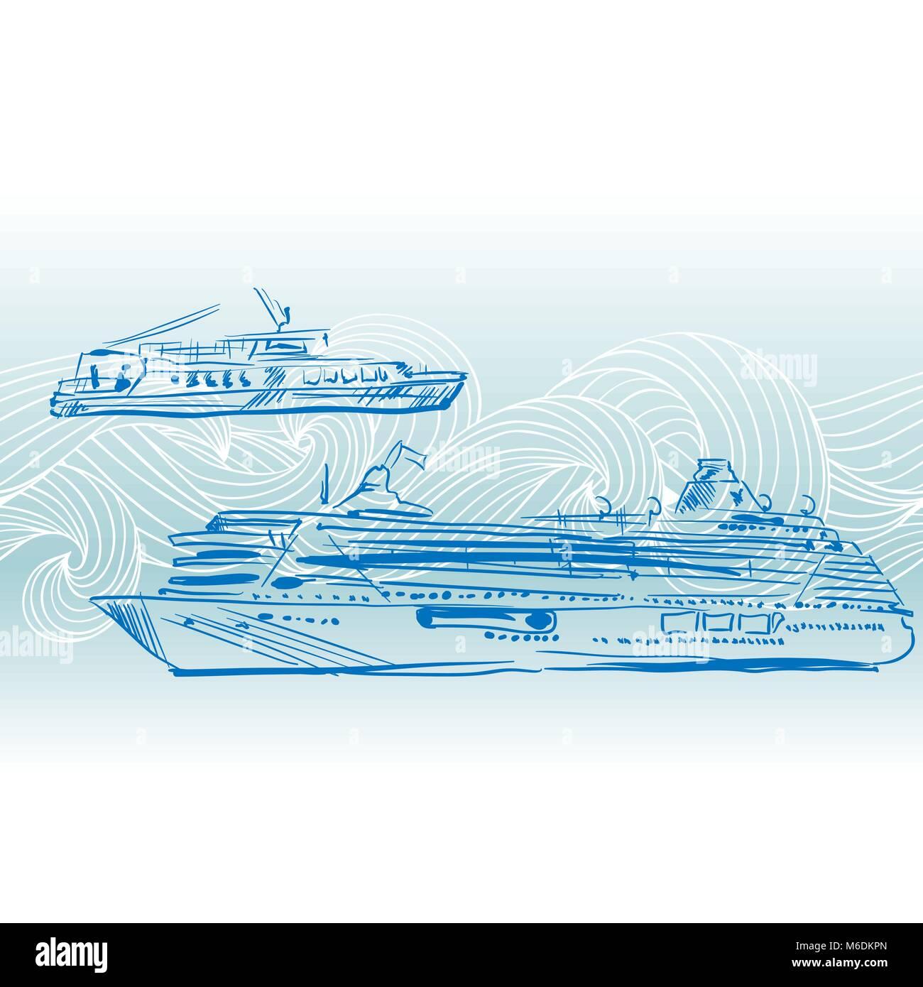 Cruise ships vector background. Engraving Nautical design - Stock Vector