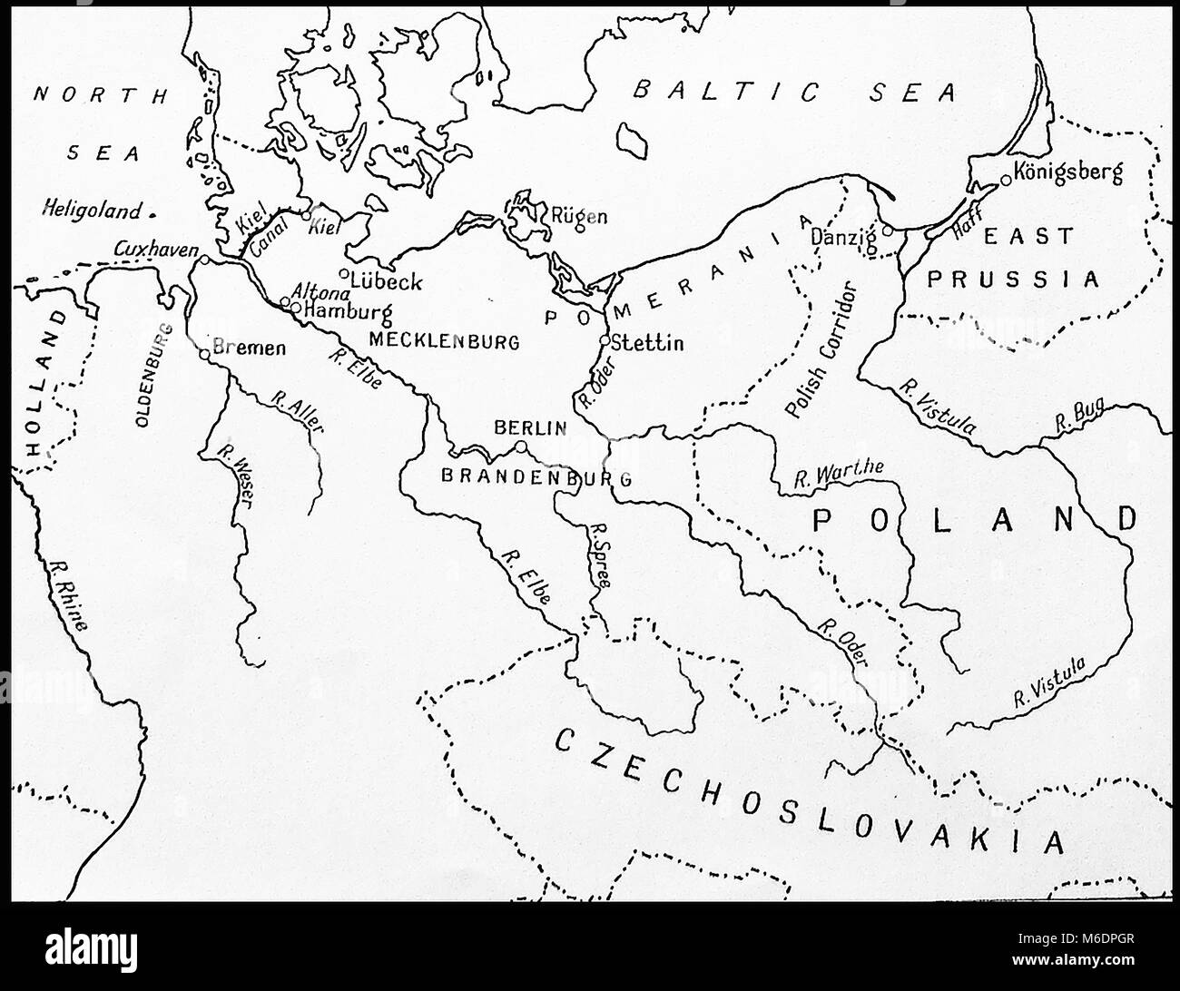 Pre World War Two map of Germany, surrounding countries, rivers and ...