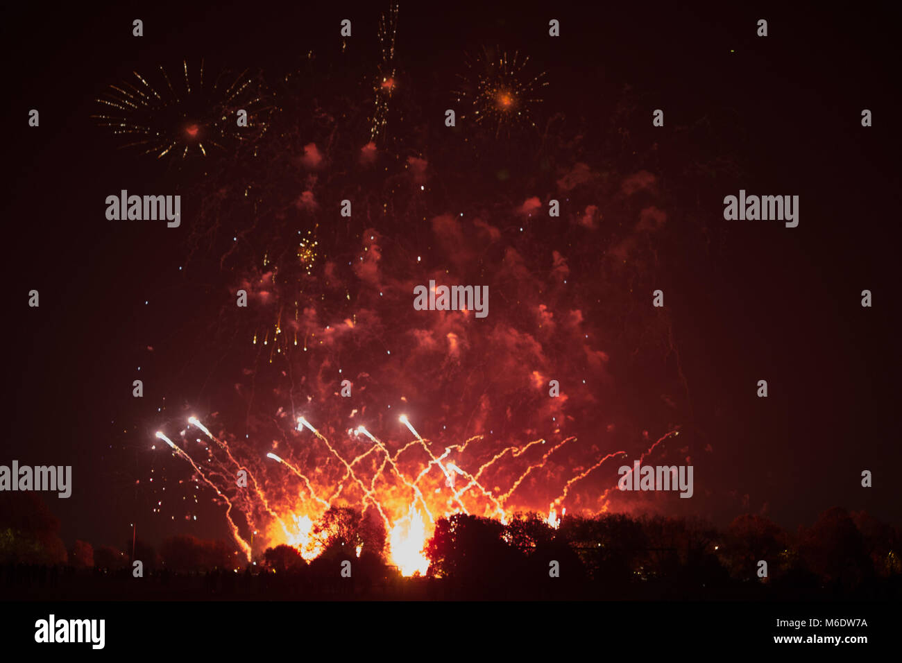 Fireworks at Wanstead Flats - Stock Image