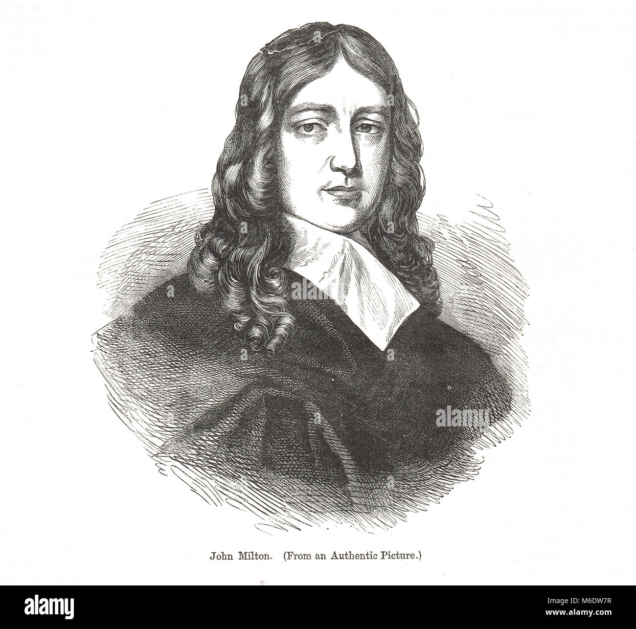 John Milton, 1608–1674, English poet, polemicist, man of letters, civil servant for the Commonwealth of Cromwell, - Stock Image