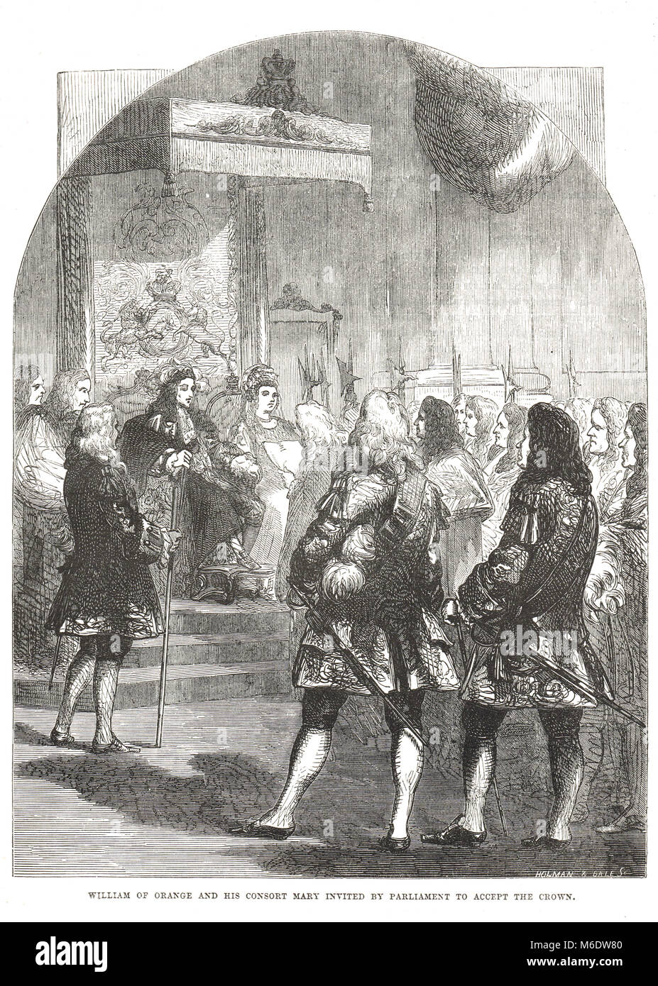 William of orange and consort Mary invited to accept the crown of England, Convention Parliament of 1689 - Stock Image