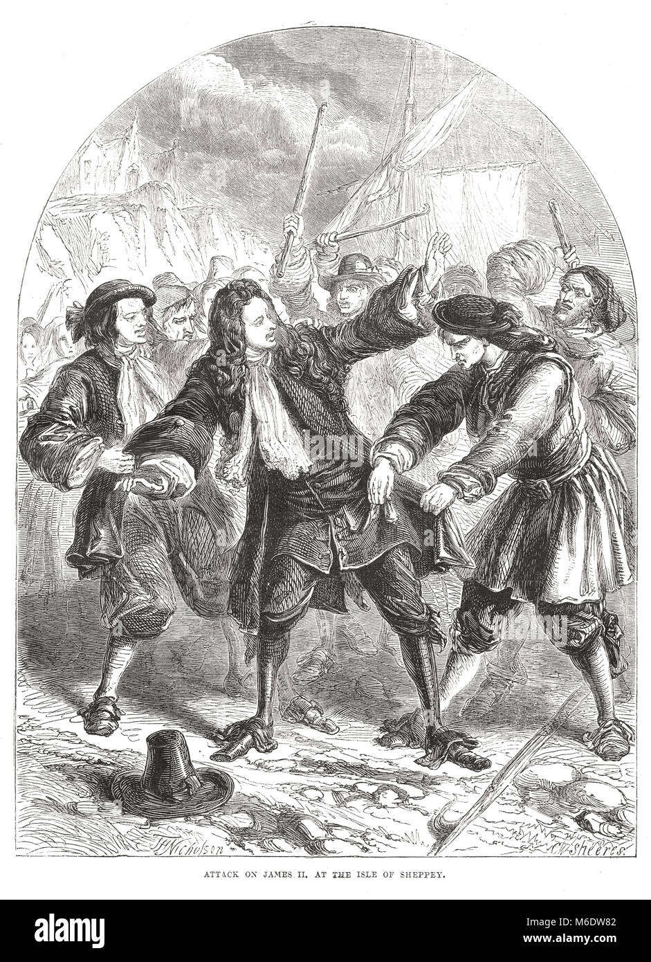 Attack on James II at the isle of Sheppey. The flight of James II, December 1688.  Glorious Revolution of 1688 - Stock Image