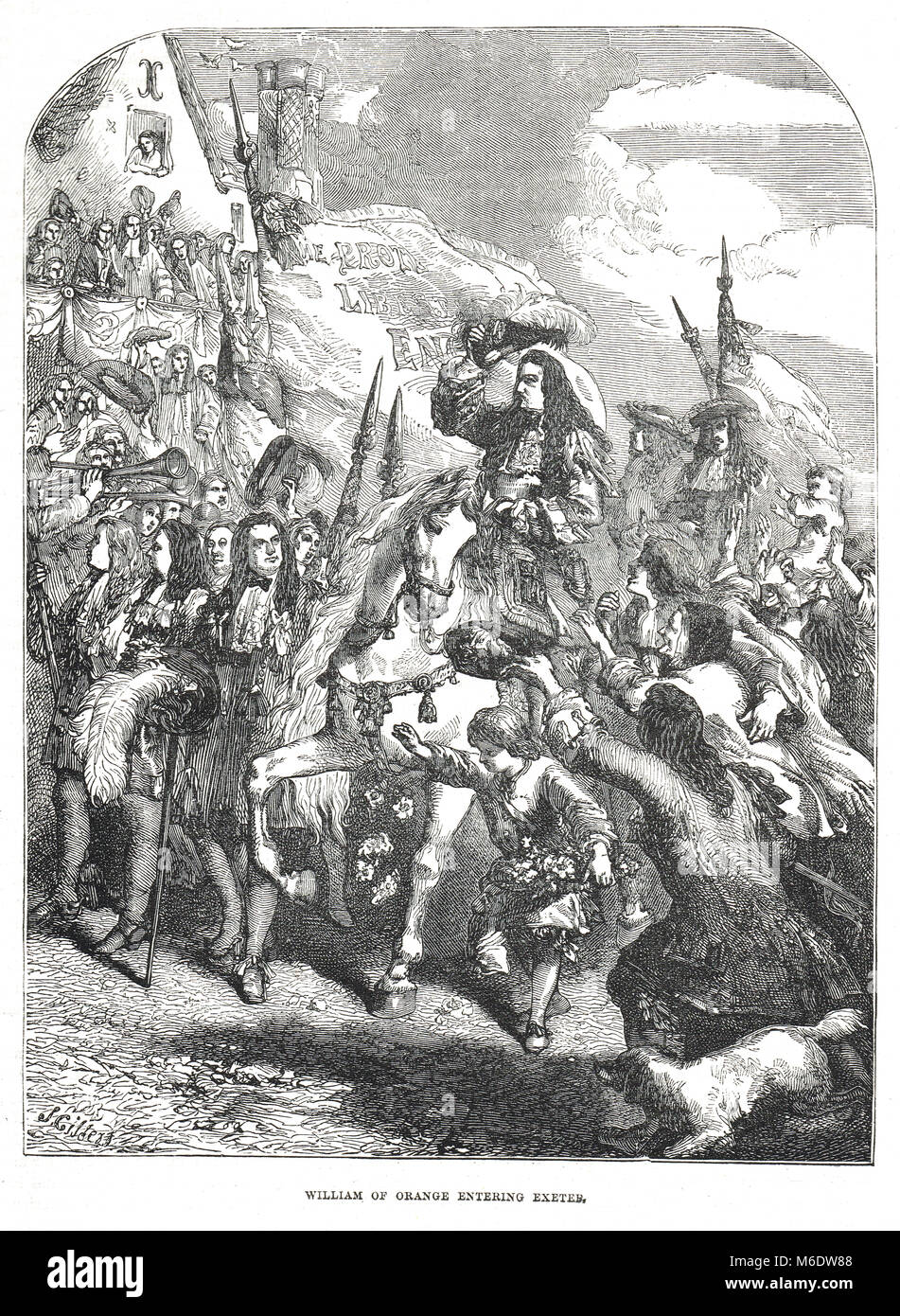 William of Orange, entering Exeter, the Glorious Revolution, invasion of England in 1688 - Stock Image