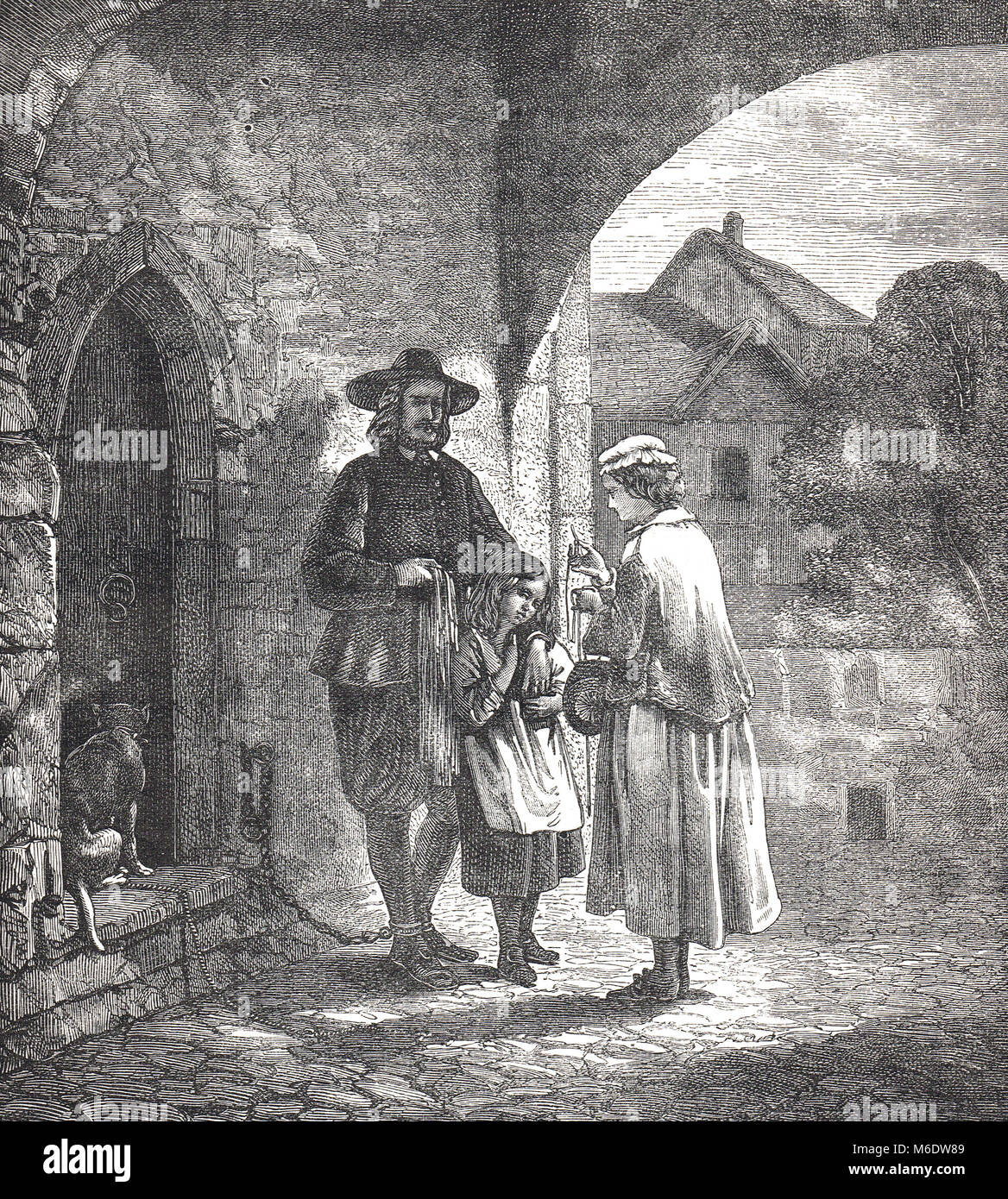 John Bunyan, with his blind daughter Mary outside the gates of Bedford County Gaol - Stock Image