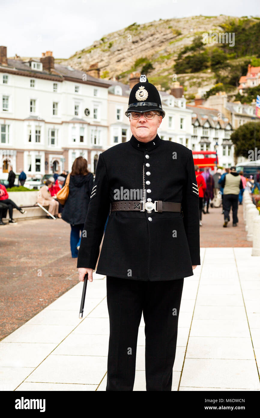 Llandudno, North Wales- 29th April 2017: Portrait of a man posing in a Victorian Police sergeant's uniform as part - Stock Image
