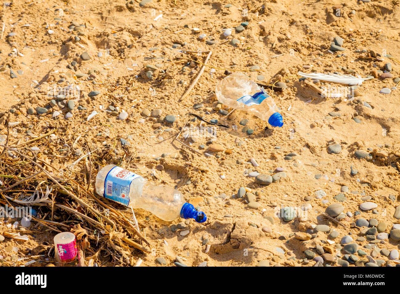 plastic waste on beach . North Wales, UK. - Stock Image