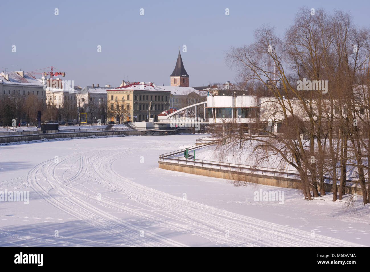 Winter view of Tartu, the icy river in the foreground. Estonia March 3, 2018 - Stock Image