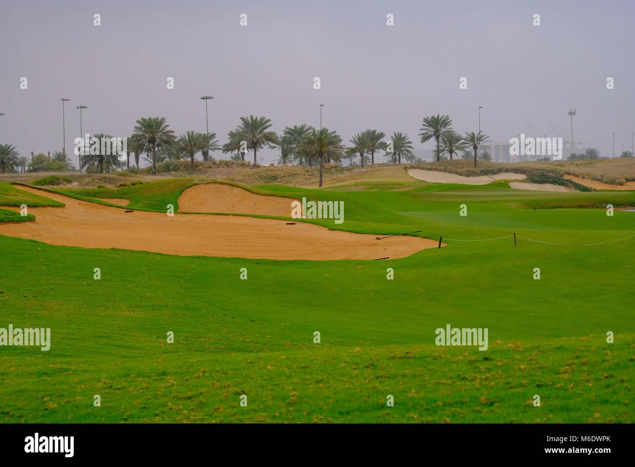 Saadiyat Beach Golf Course, 18 Hole, Par 4, Saadiyat Island Abu Dhabi - Stock Image