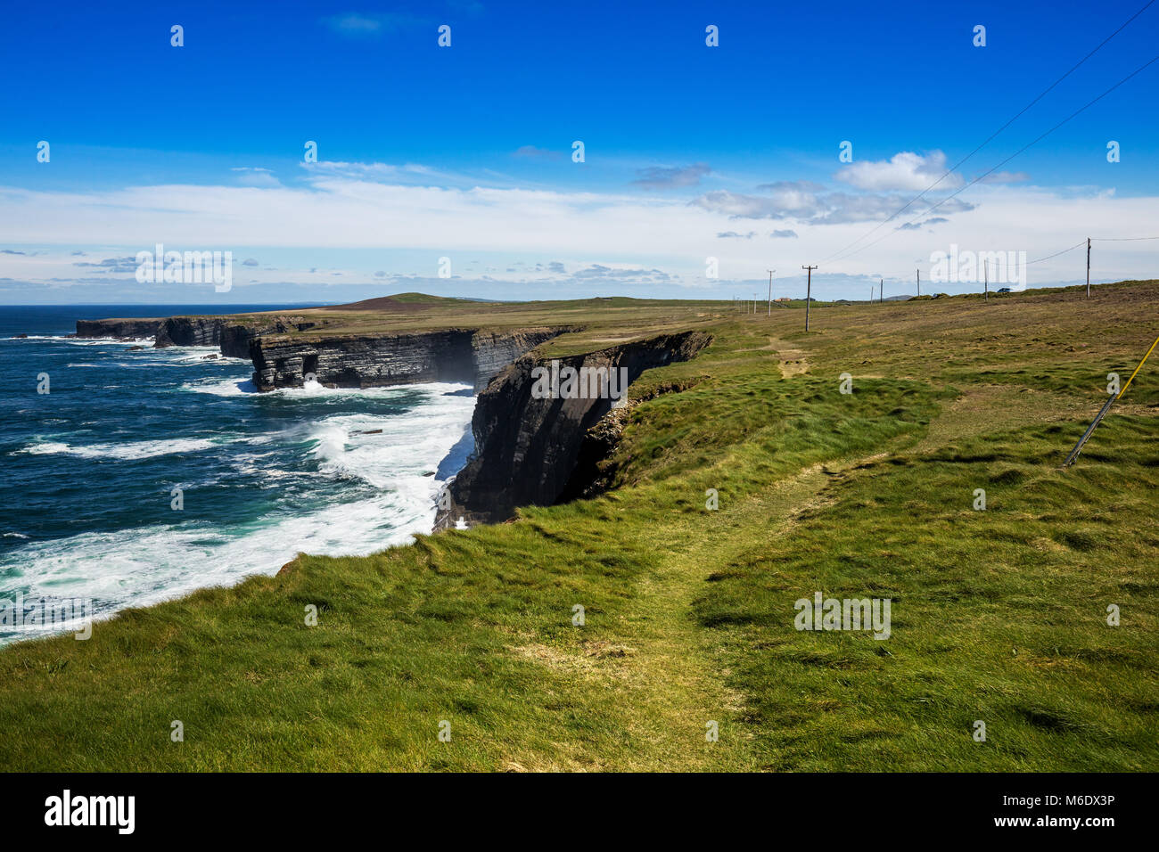 Cliffs of Loop Head, Kilbaha, Co. Clare, Ireland. Unique geological rock formations has formed over millions of - Stock Image