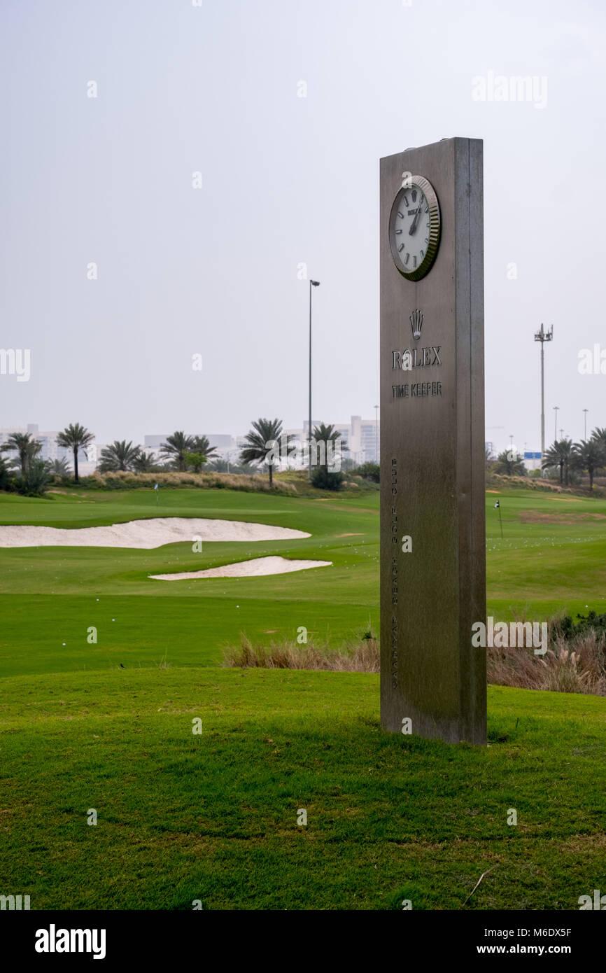 Rolex Post Clock installed at Saadiyat Beach Golf Course Abu