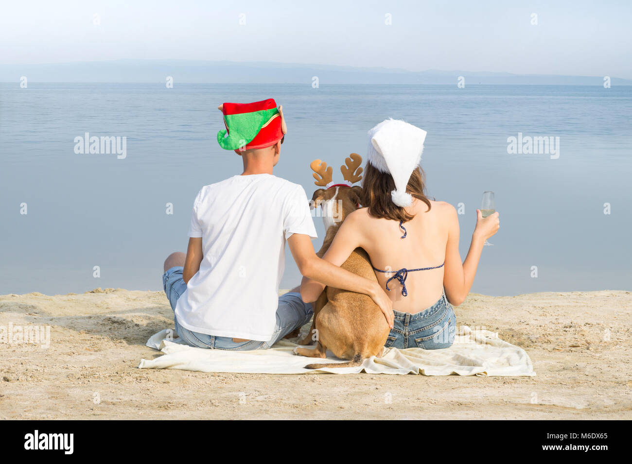 Man, woman and puppy in funny new year hats spend time at seaside - Stock Image