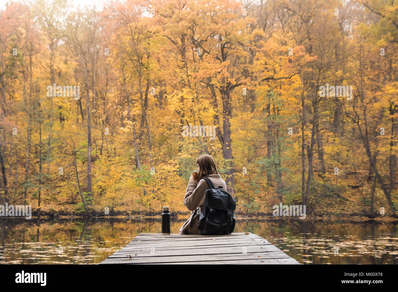 Young female person hiking at nature park rests at riverbank on gold autumn day and enjoys beautiful october scenery - Stock Image