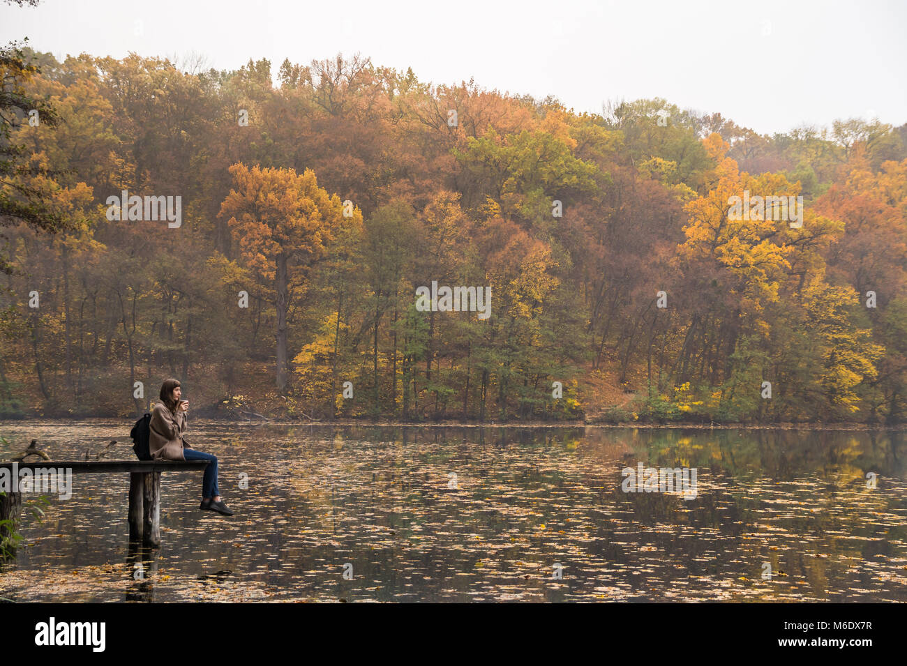 Girl enjoys rest and drinks coffee near the lake at nature park on gold mellow autumn day - Stock Image