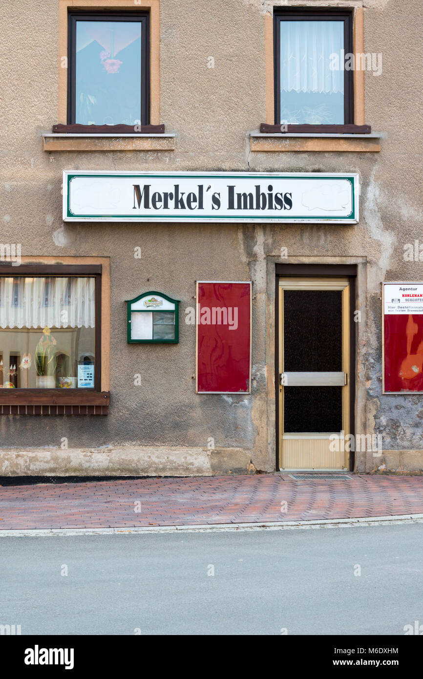 Mylau, Germany - March 2,2018: View of the restaurant Merkel`s Imbiss in the small east German town Mylau, Germany. Stock Photo