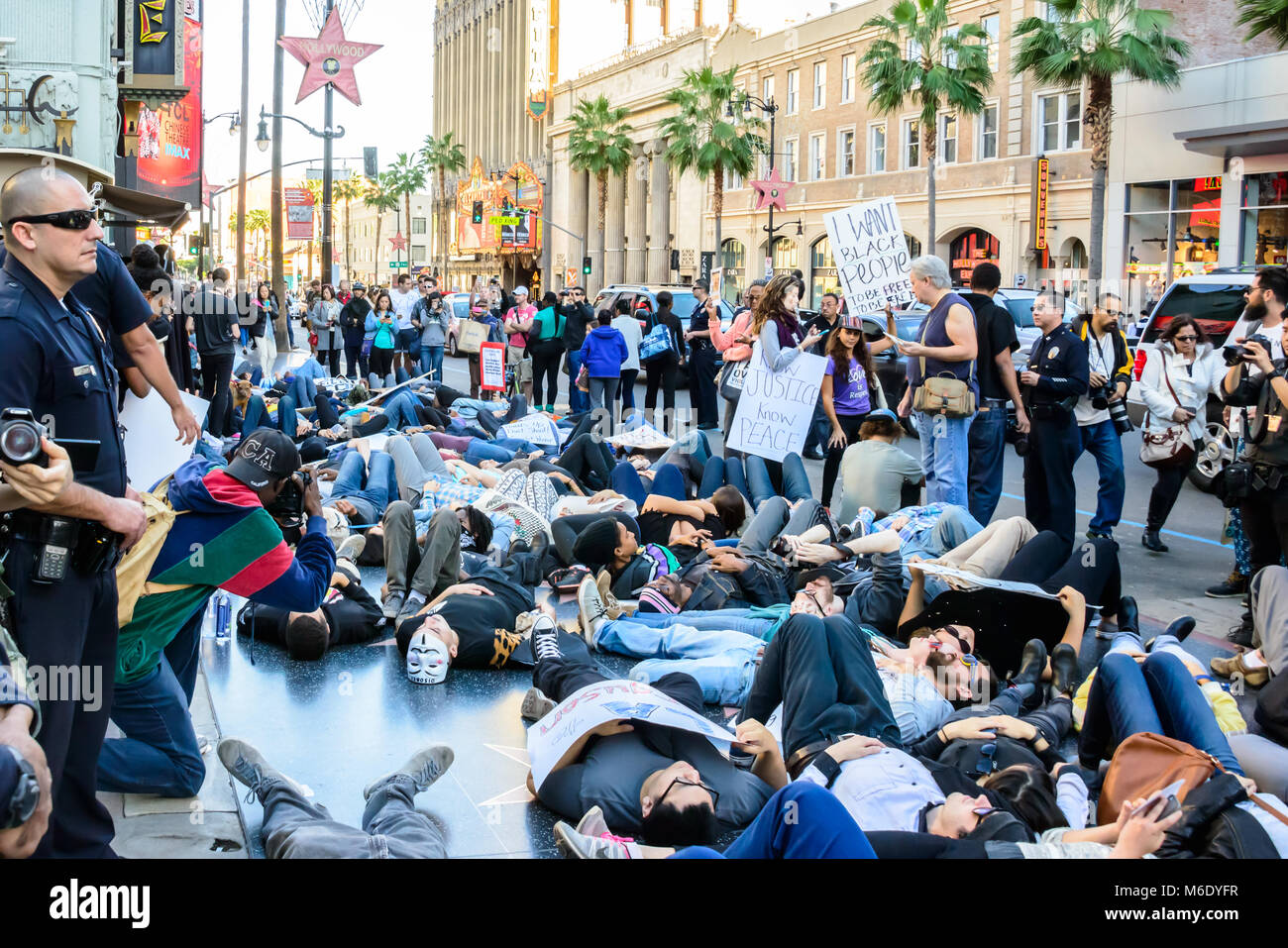 Die-in Protesters Black Lives Matter Hollywood Los Angeles California - Stock Image