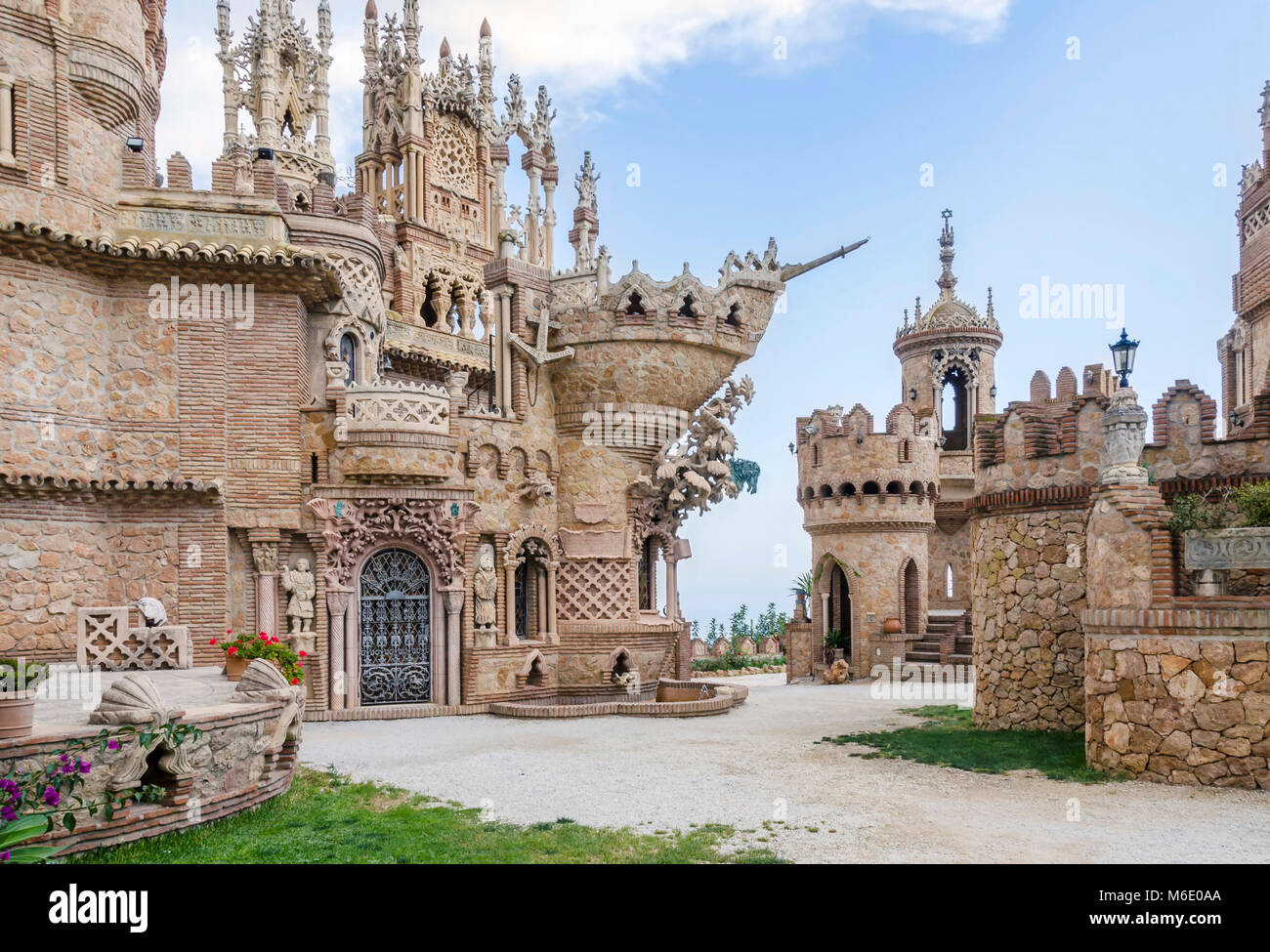 Benalmadena, Spain - MAI 30, 2015: Castillo Monumento Colo Mares. This castle-shaped building is  a monument dedicated - Stock Image