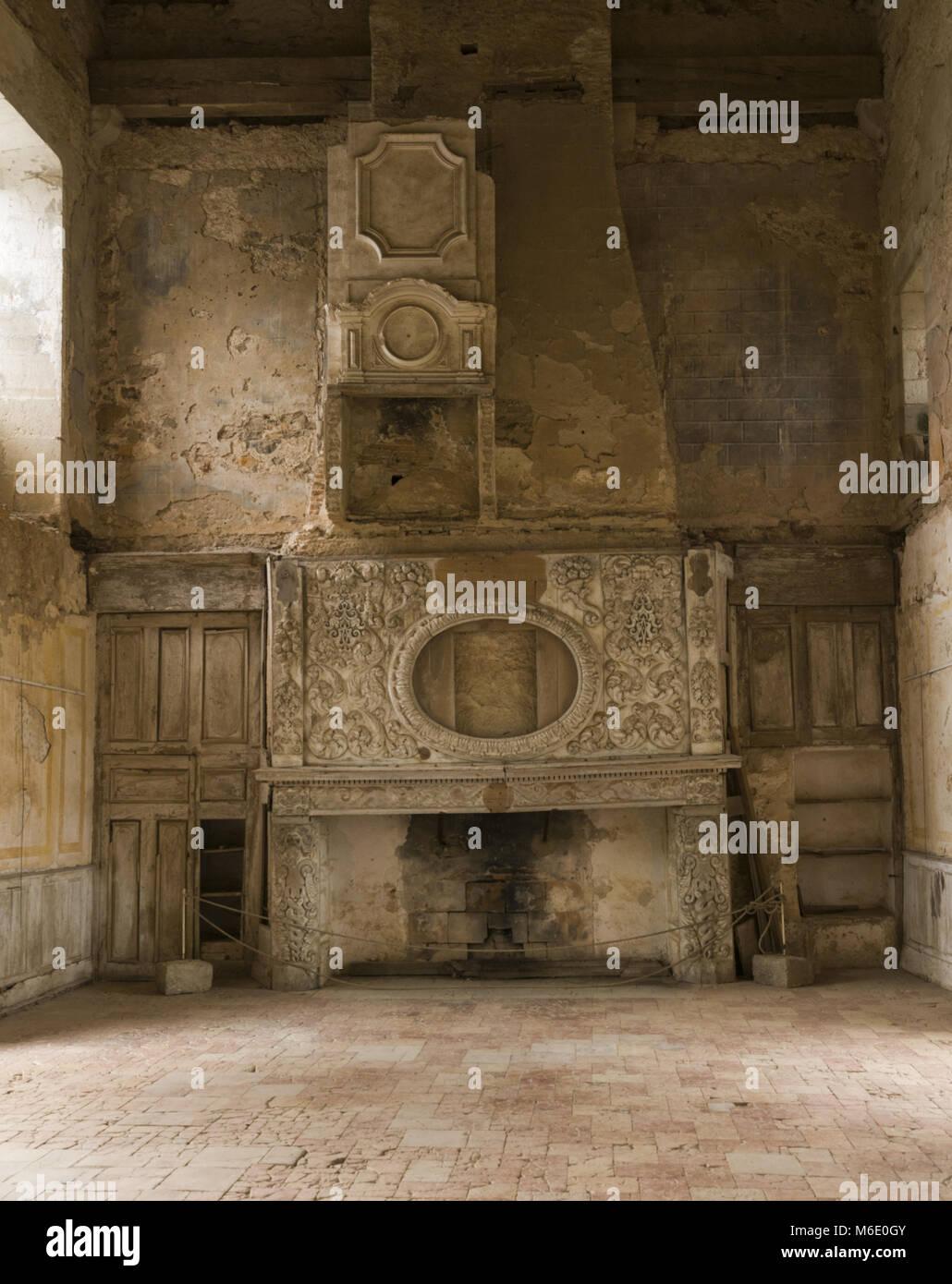 France, Tarn Et Garonne, Bruniquel, Old Chateau, 12th C, Interior Room