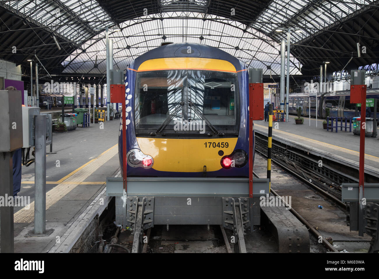 A Class 170 Turbostar Diesel Train at Glasgow Queen Street Train Station - Stock Image