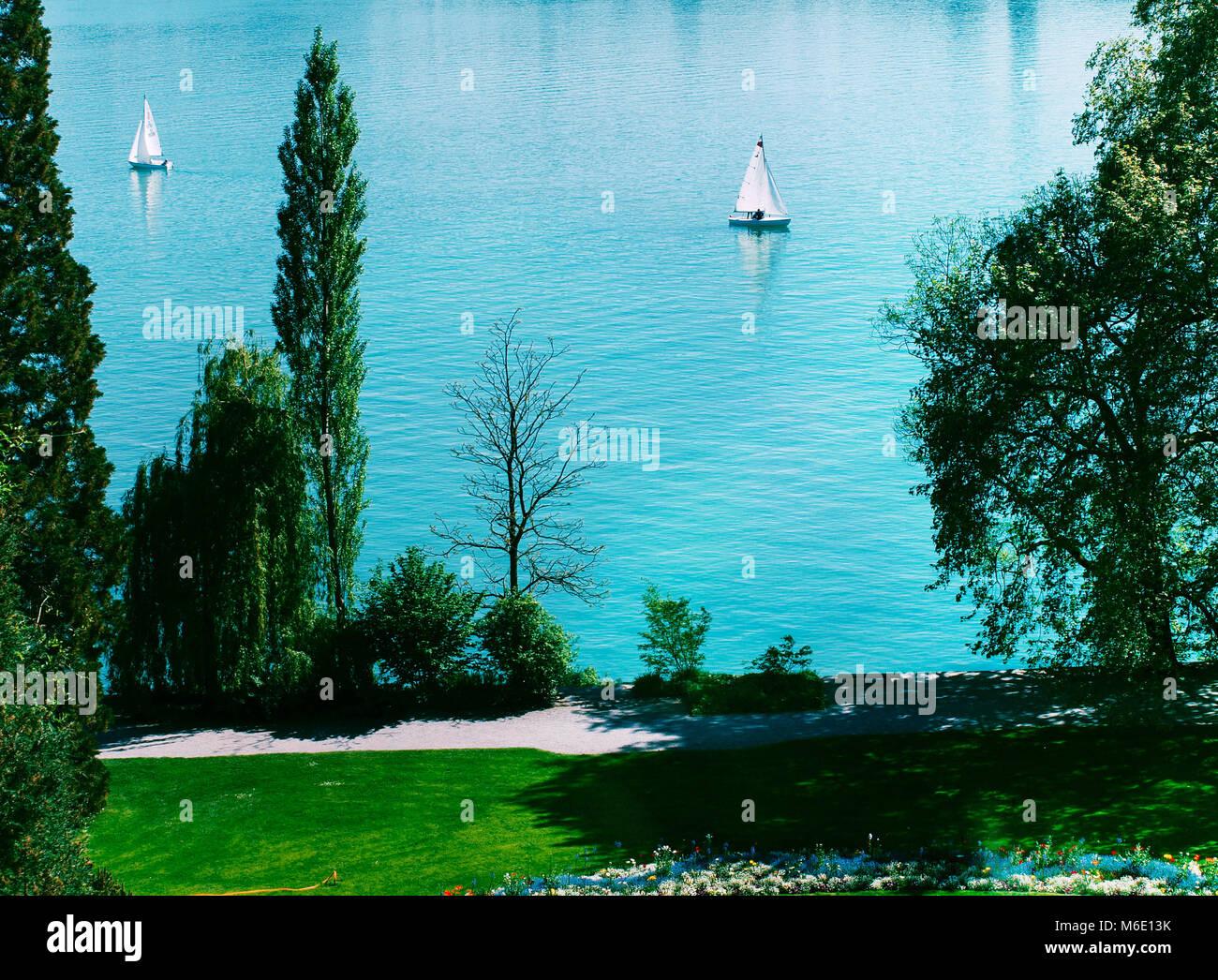 Mainau island sailboat at lake Bodensee, Germany. - Stock Image