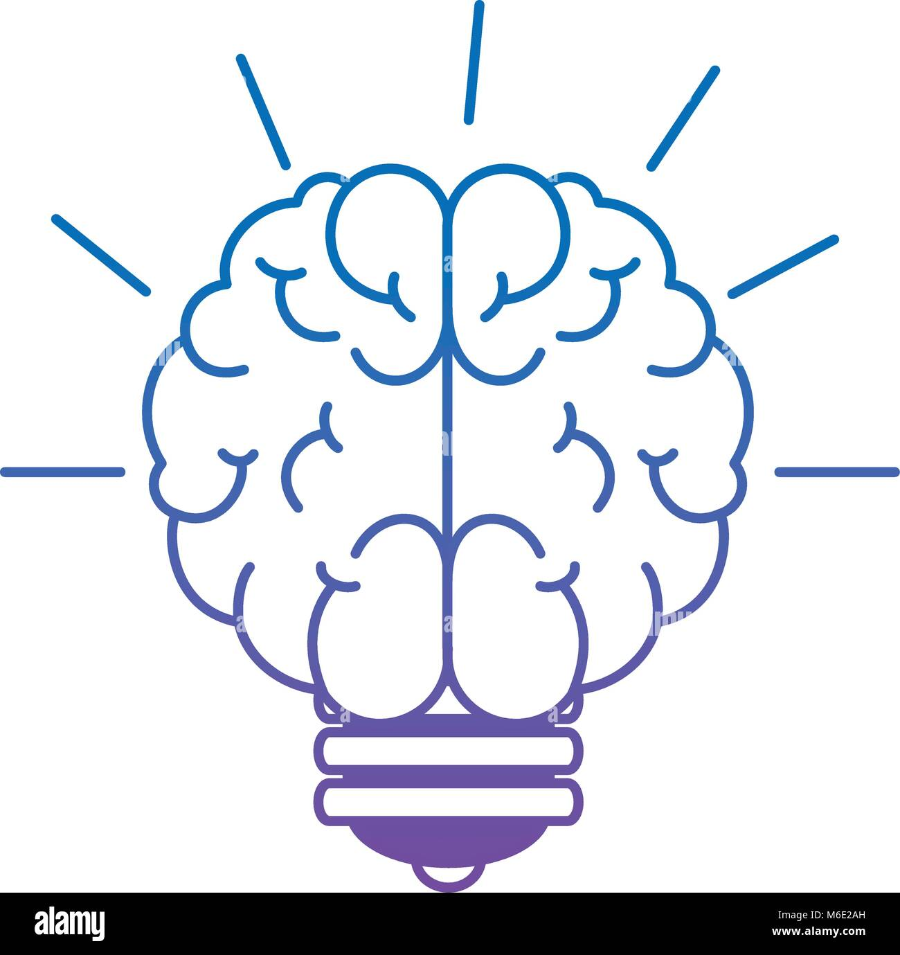 bulb light idea with brain - Stock Image