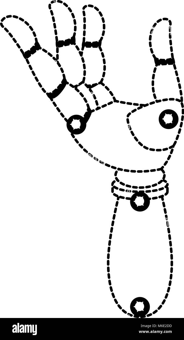 robot hand humanoid icon - Stock Image