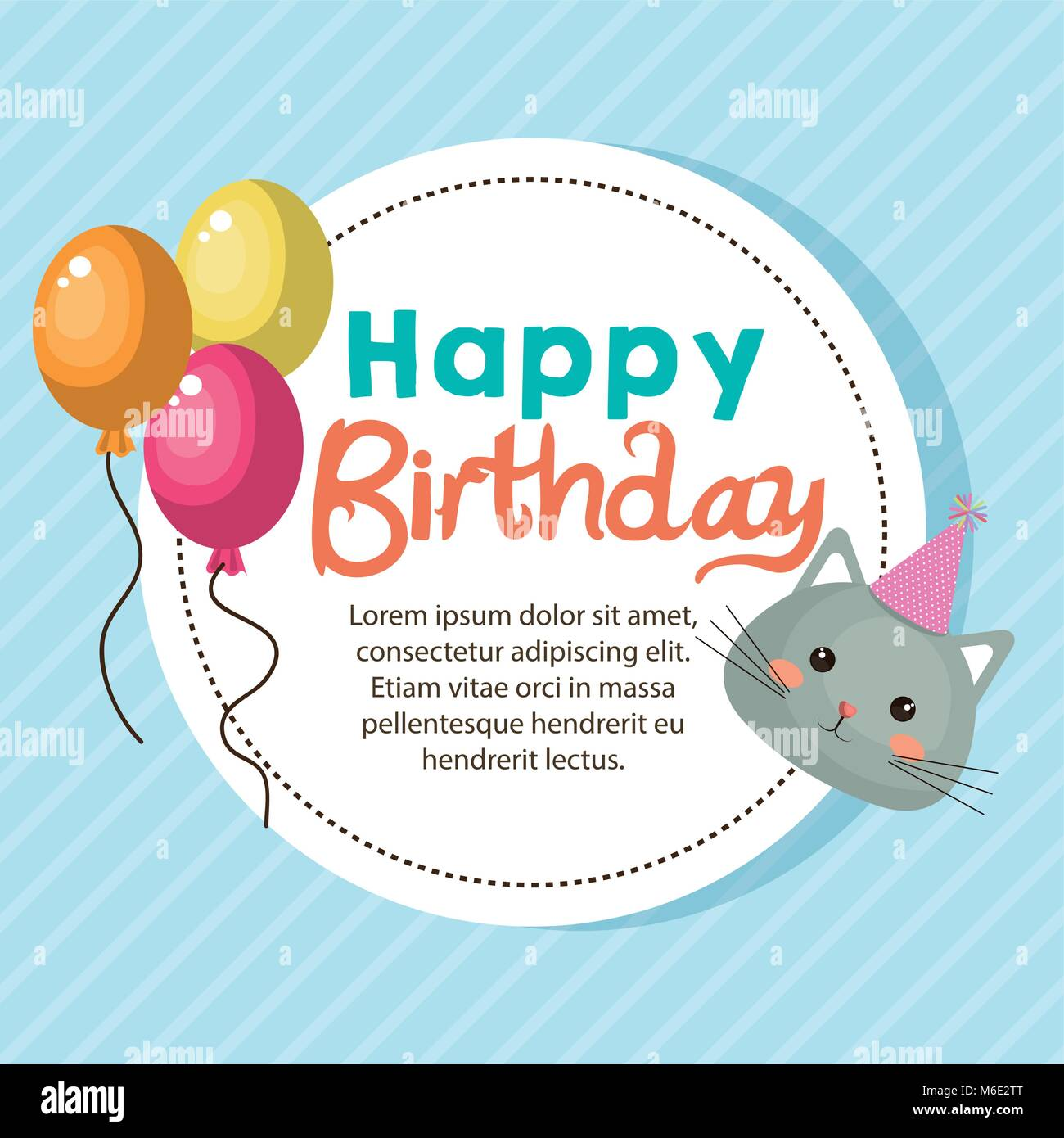 happy birthday card with cute cat character - Stock Image