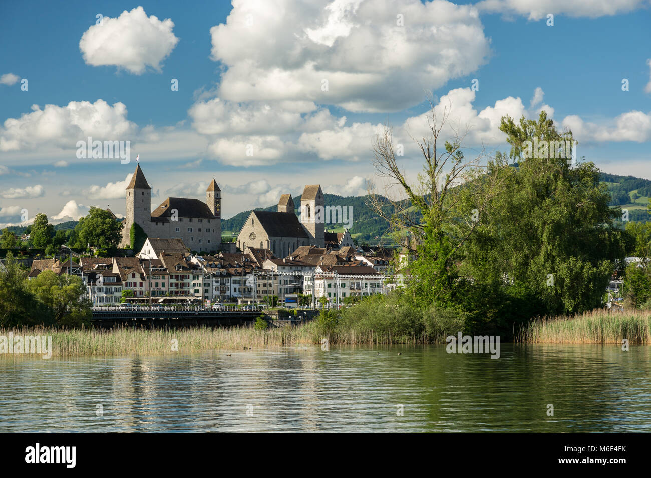 Old castle and church in Rapperswil, Switzerland - Stock Image