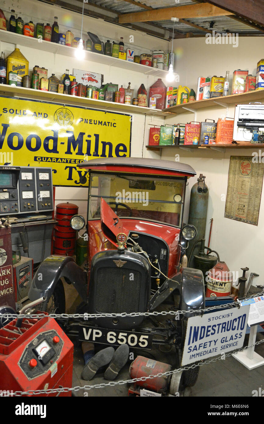 Parts desk in motor vehicle workshop at Ipswich Transport Museum, Suffolk, England - Stock Image