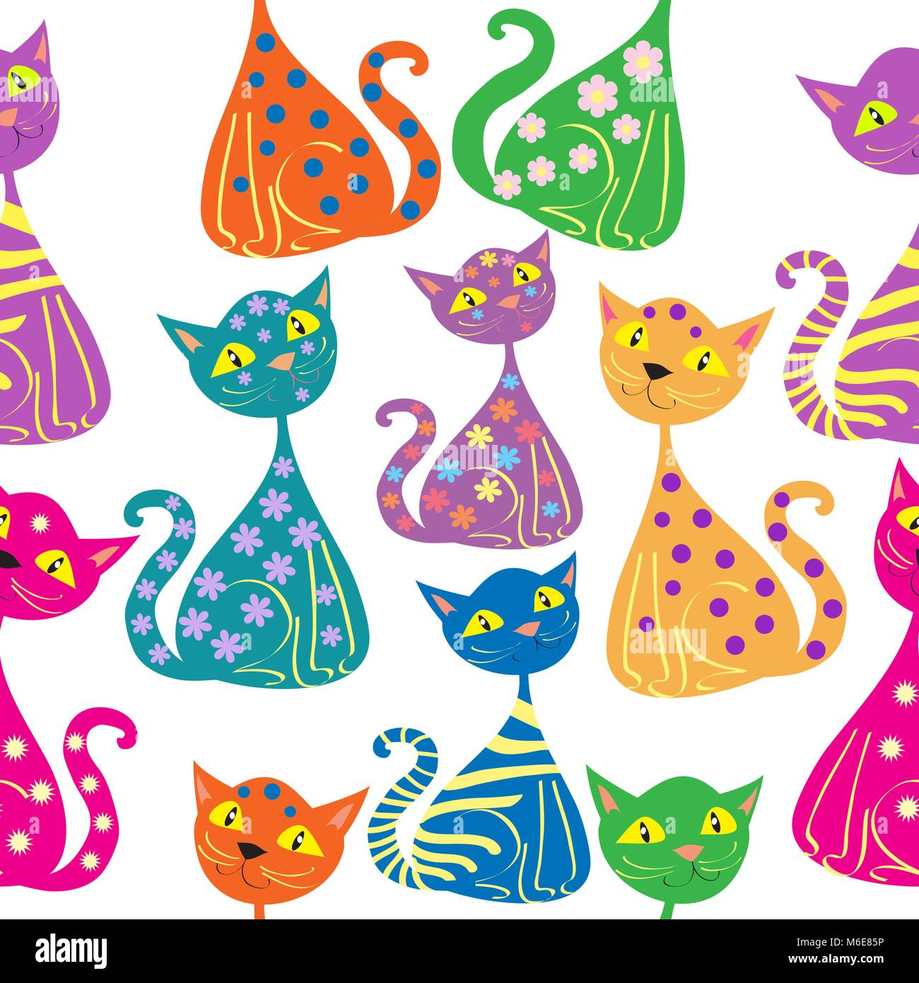 Vector seemless pattern multi-colored cats - Stock Vector