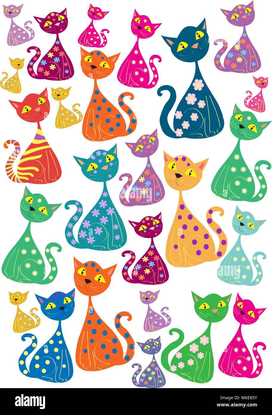 Multi-colored cats - Stock Vector