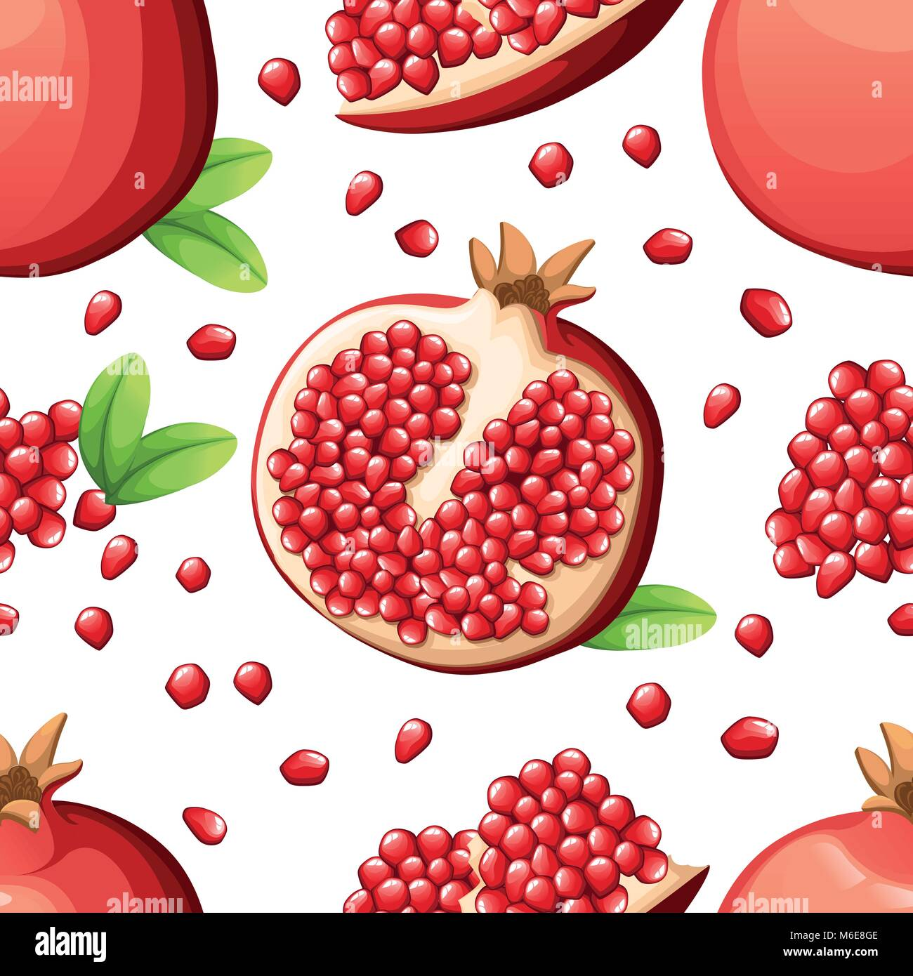 Seamless pattern of pomegranate and fresh seeds of pomegranates. Vector illustration of opened pomegranate. Vector - Stock Vector