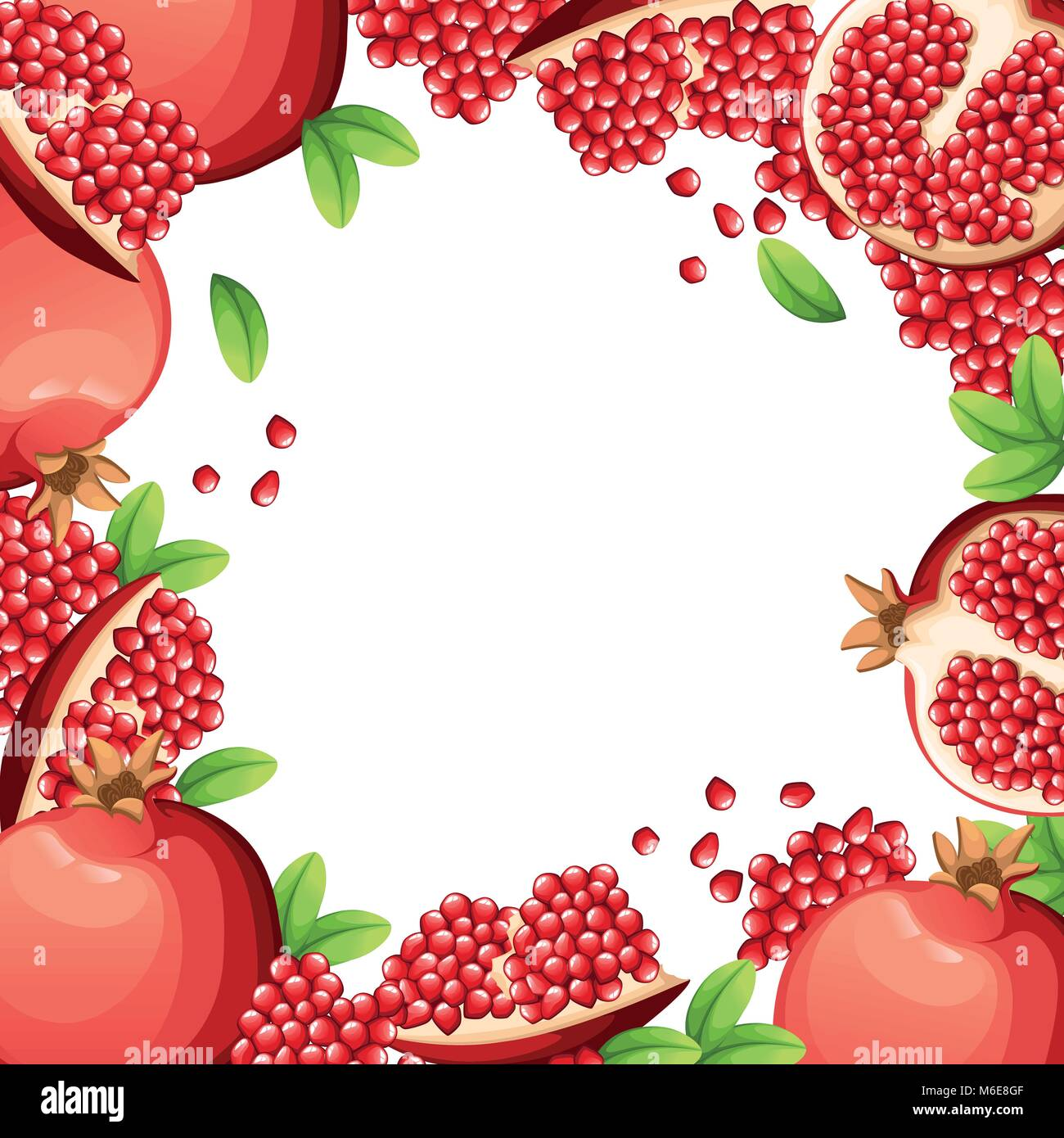 Pattern of pomegranate and fresh seeds of pomegranates. Vector illustration with empty space and opened pomegranate - Stock Vector